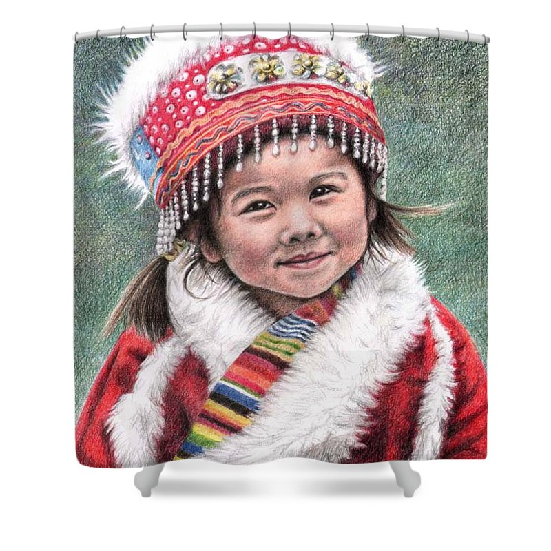 Girl Shower Curtain featuring the drawing Tibetan Girl by Nicole Zeug