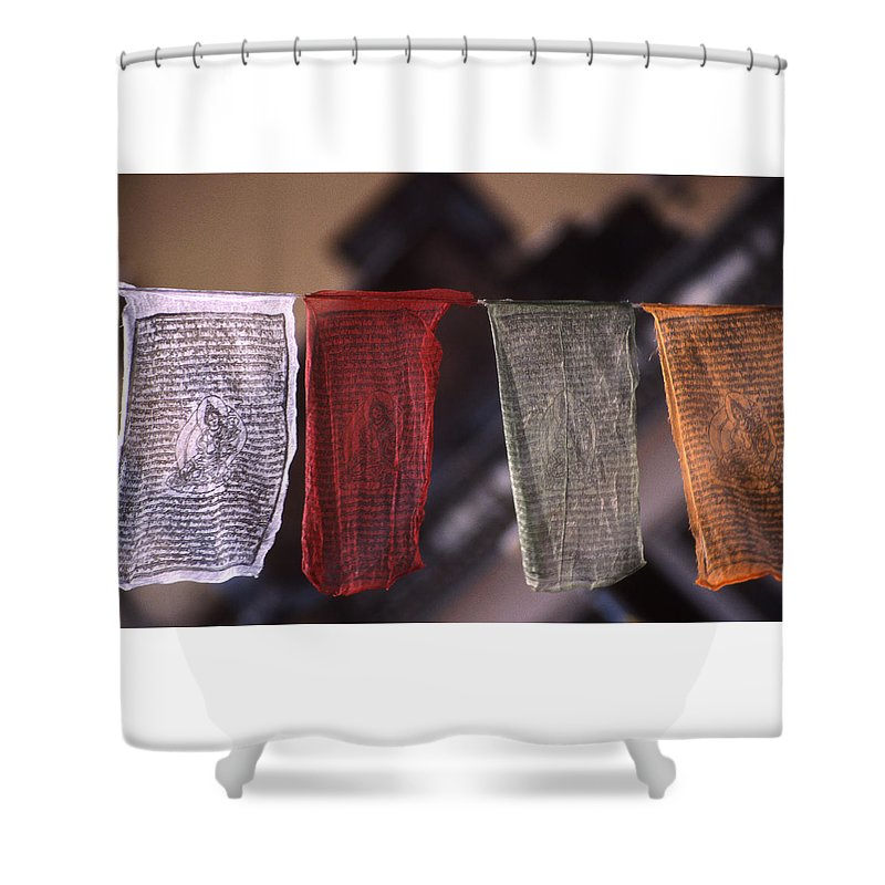 Prayer Flag Shower Curtain featuring the photograph Tibetan Prayer Flags by Patrick Klauss