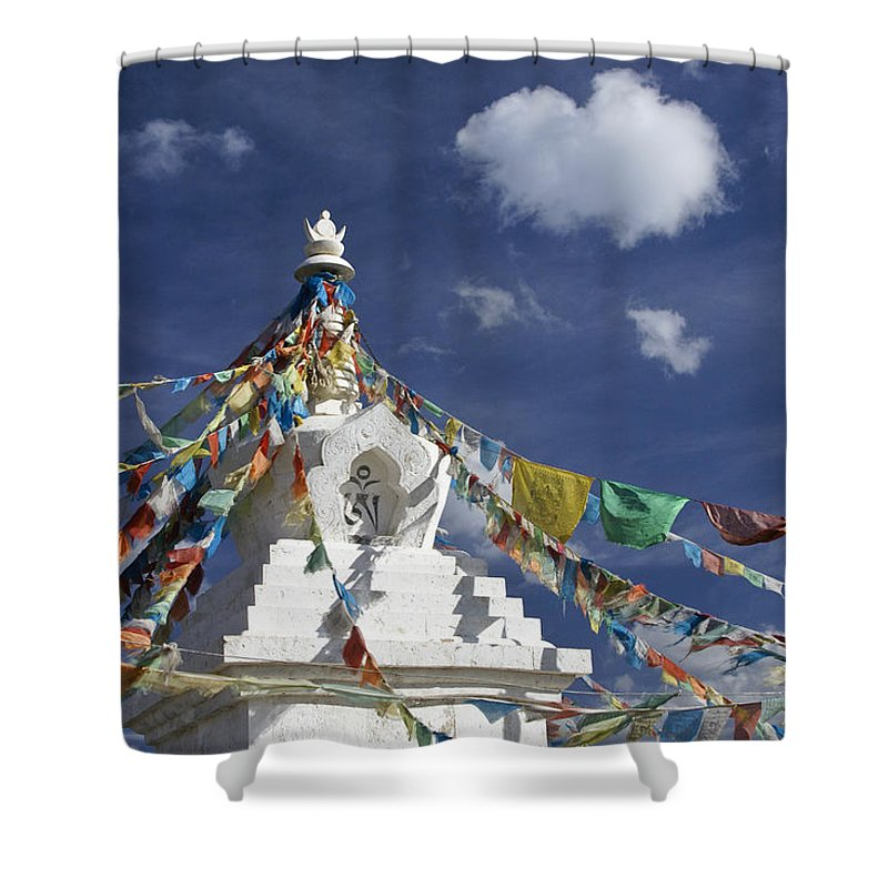 Asia Shower Curtain featuring the photograph Tibetan Stupa With Prayer Flags by Michele Burgess
