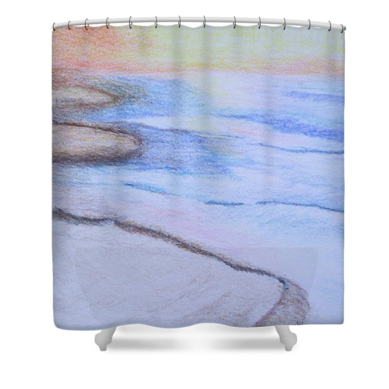 Landscape Shower Curtain featuring the drawing Tide Is Out by Suzanne Udell Levinger
