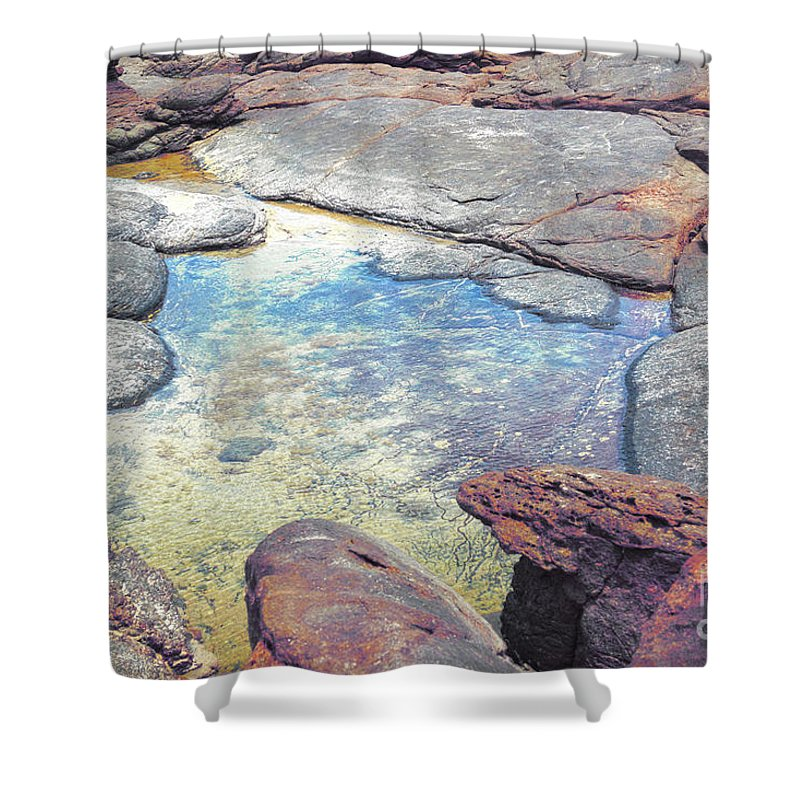 Mouth Of Margaret River Beach Shower Curtain featuring the photograph Tide Pool by Cassandra Buckley