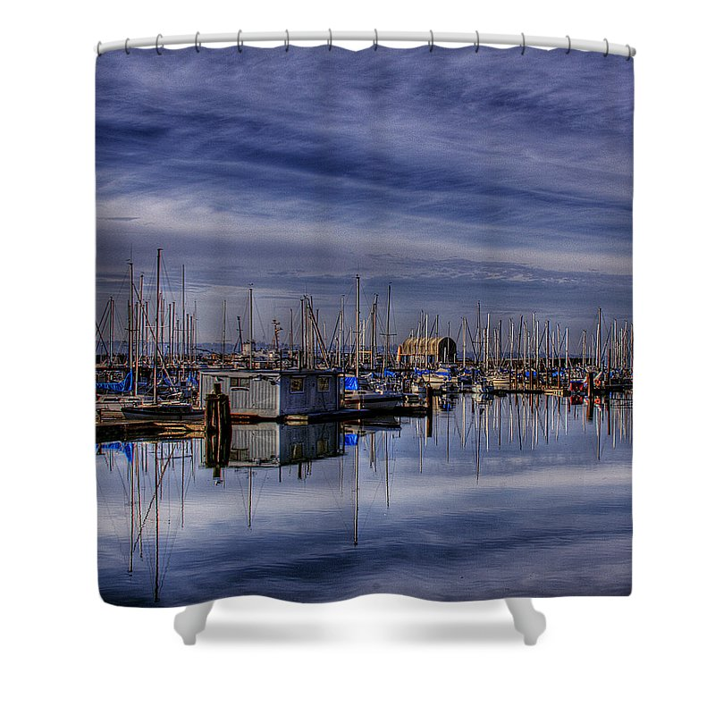 Boats Shower Curtain featuring the photograph Tideflats Marina by David Patterson