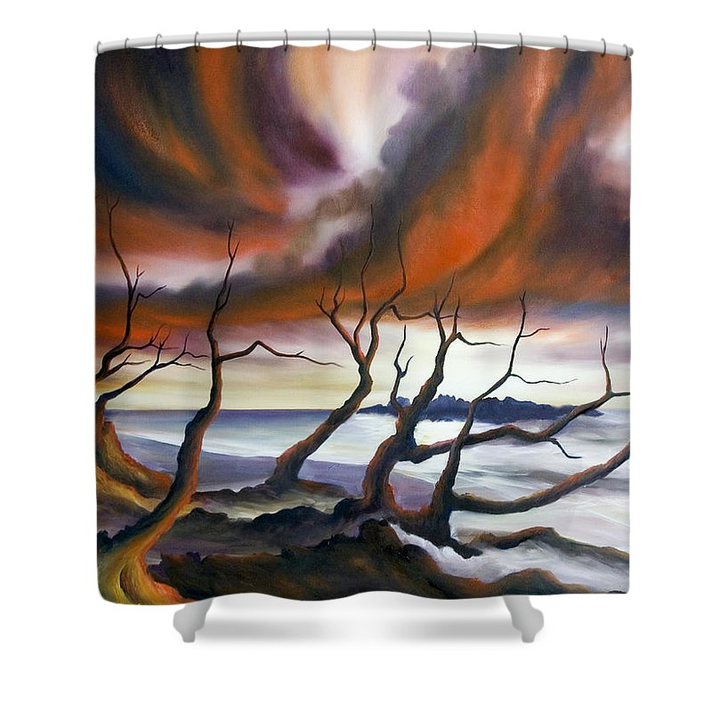 Marsh Shower Curtain featuring the painting Tideland by James Christopher Hill