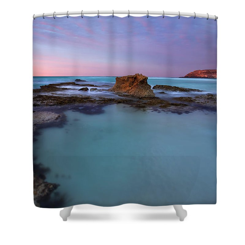 Seascape Tidepools Shower Curtain featuring the photograph Tidepool Dawn by Mike Dawson