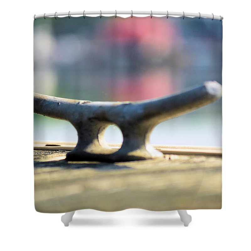 Boat Shower Curtain featuring the photograph Tie Down by Erik Waltz