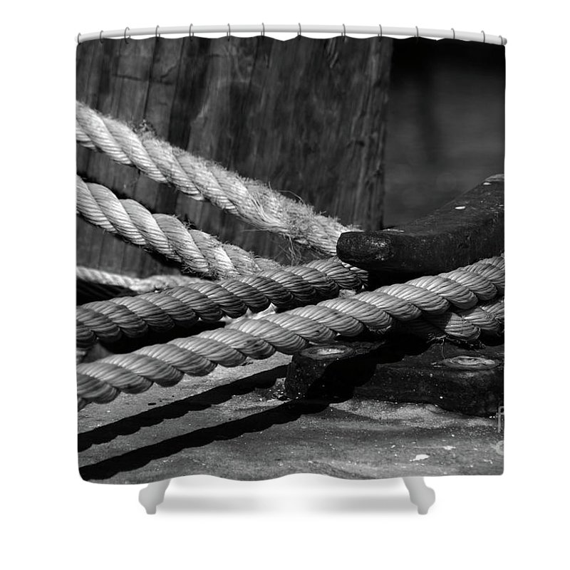 White Shower Curtain featuring the photograph Tied Down by Susanne Van Hulst