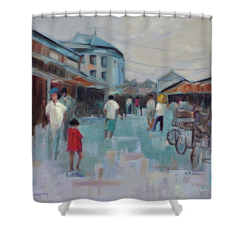 Taipei Villages Shower Curtain featuring the painting Tien Mou Village Taipei by Ginger Concepcion