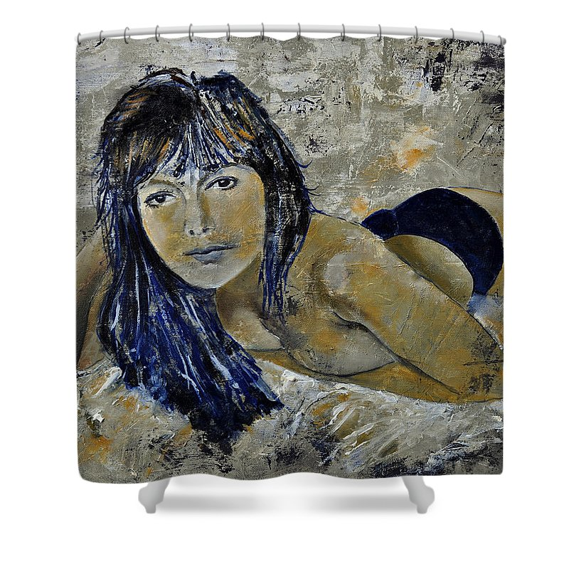 Girl Shower Curtain featuring the painting Tiffany 45 by Pol Ledent