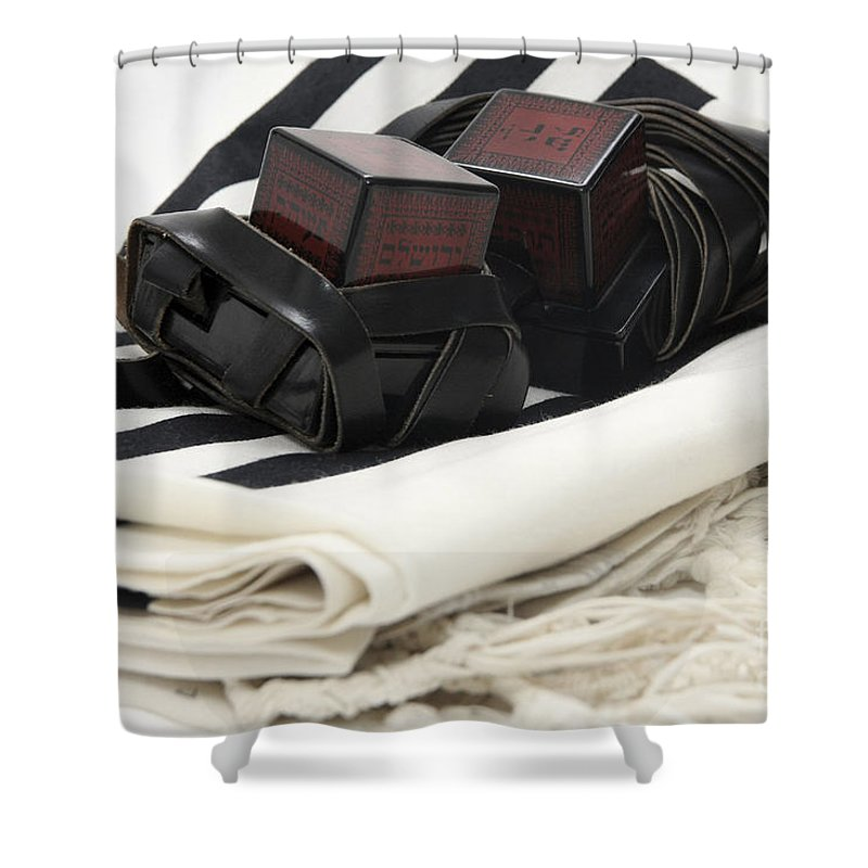 Religion Shower Curtain featuring the photograph Tifillin And Talis by Yedidya yos mizrachi