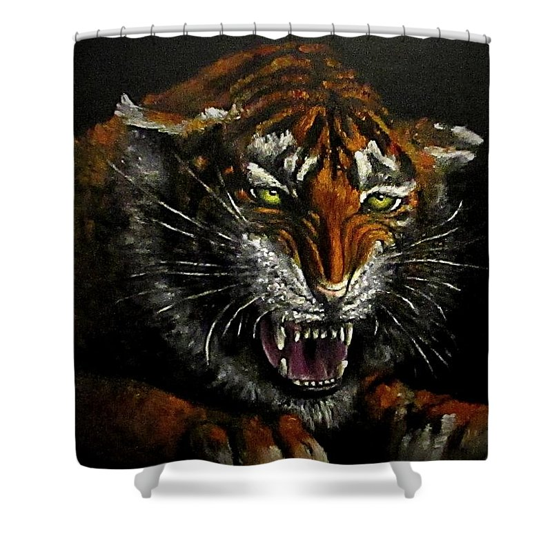 Animal Shower Curtain featuring the painting Tiger-1 Original Oil Painting by Natalja Picugina