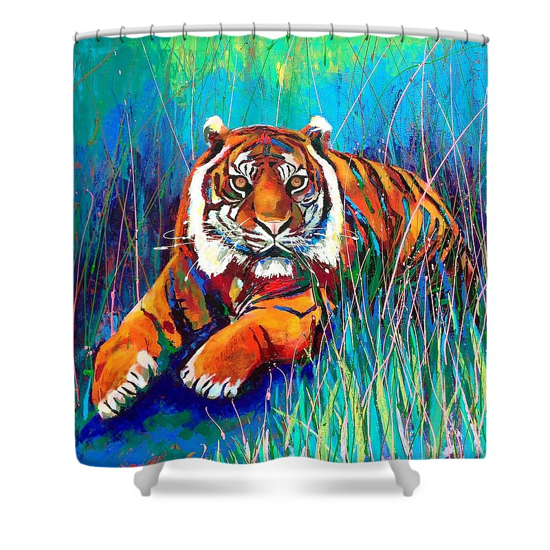 Tiger Shower Curtain featuring the painting Tiger by Angie Wright