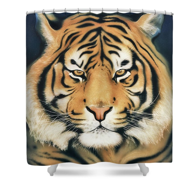 Panthera Tigris Shower Curtain featuring the painting Tiger At Midnight by Johannes Margreiter