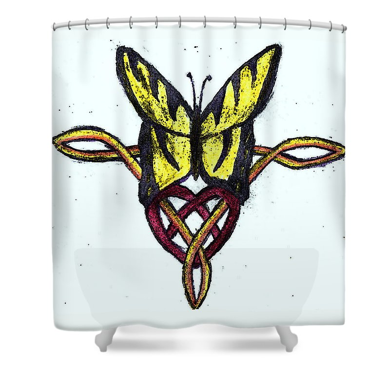 Celtic Shower Curtain featuring the drawing Tiger-butterfly Celtic Double Knot by April Patterson