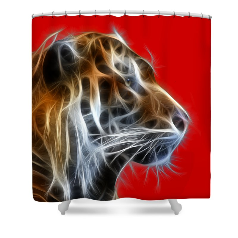 Tiger Shower Curtain featuring the photograph Tiger Fractal 2 by Shane Bechler