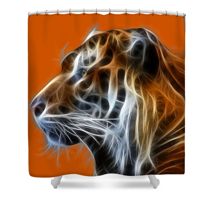 Tiger Shower Curtain featuring the photograph Tiger Fractal by Shane Bechler
