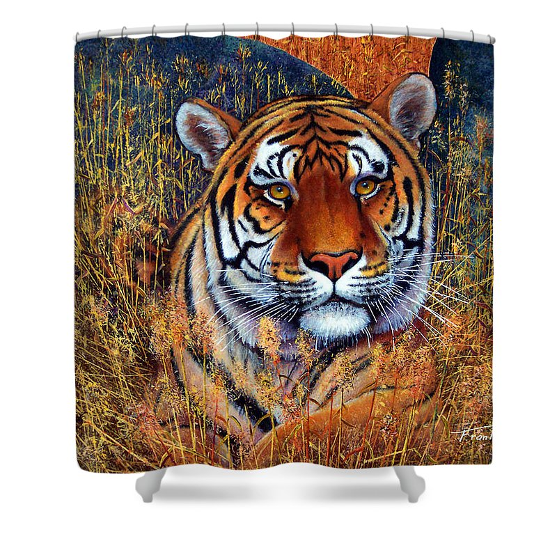 Tiger Shower Curtain featuring the painting Tiger by Frank Wilson