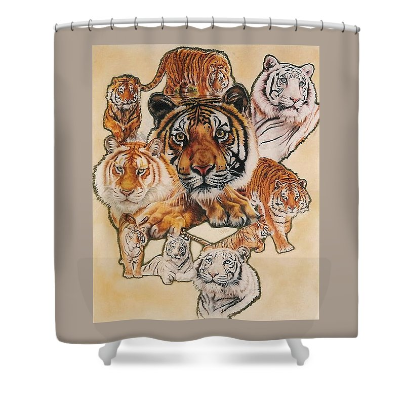 Tiger Shower Curtain featuring the pastel Tiger Haven by Barbara Keith