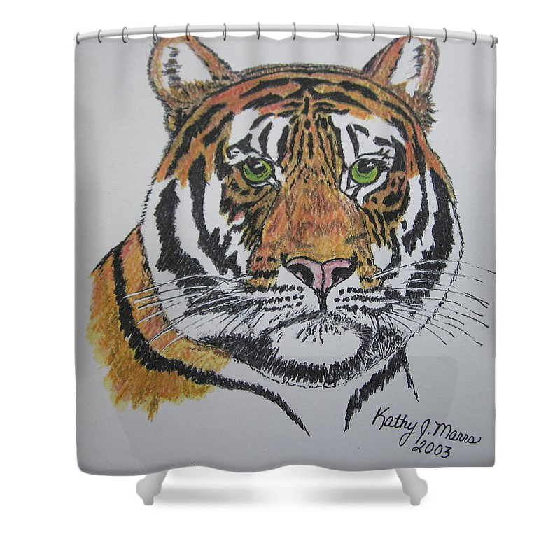 Bengal Shower Curtain featuring the painting Tiger by Kathy Marrs Chandler