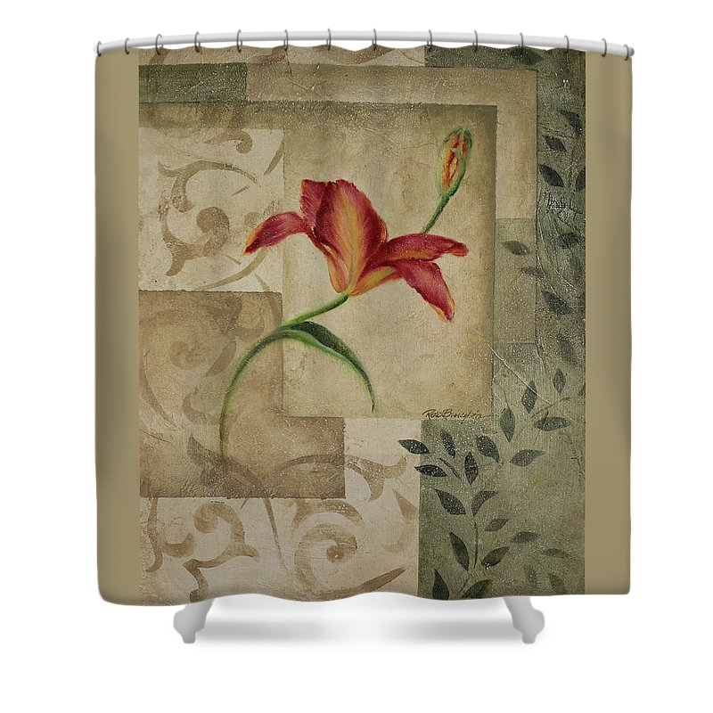 Tiger Lily Shower Curtain featuring the painting Tiger Lily II by Rita  Broughton