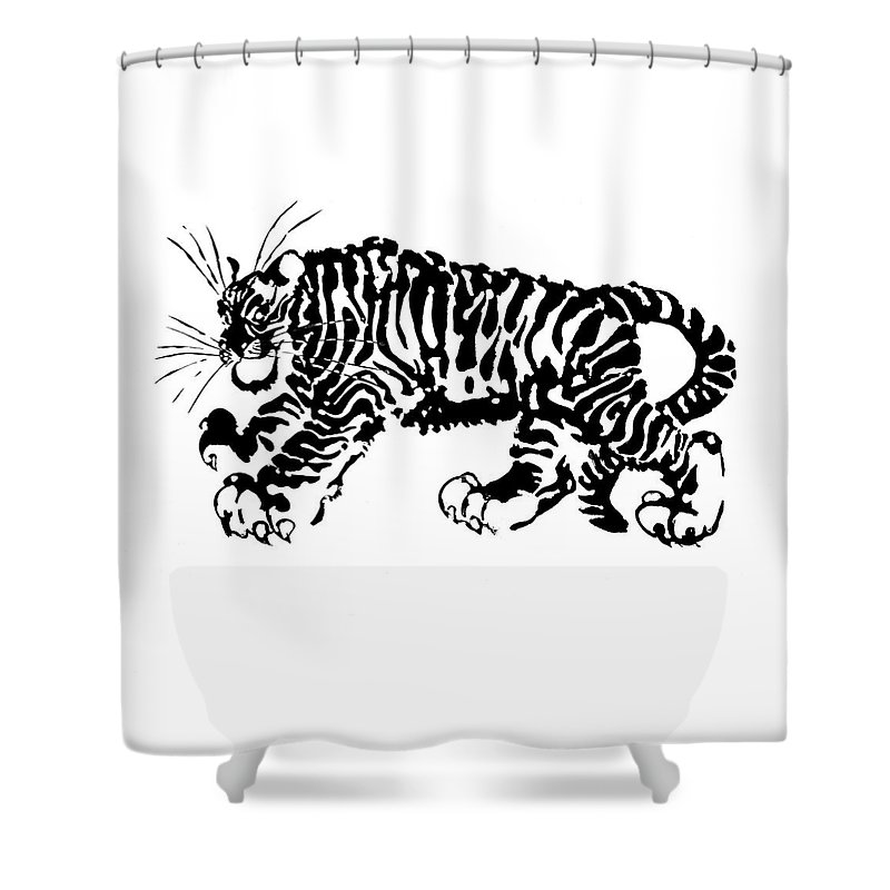 Tiger Shower Curtain featuring the drawing Tiger by Marina Kapilova