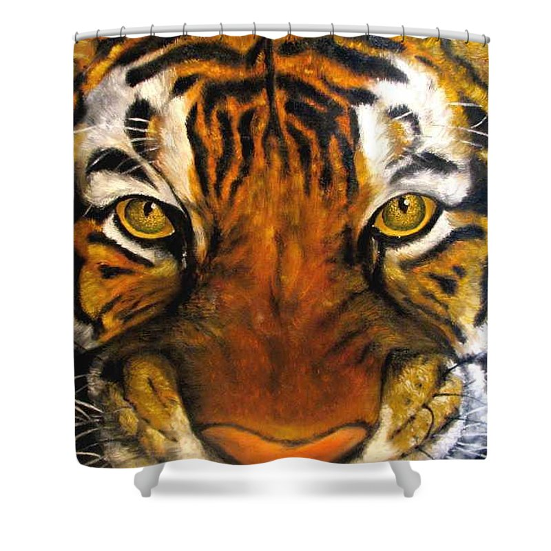 Tiger Shower Curtain featuring the painting Tiger Mask Original Oil Painting by Natalja Picugina