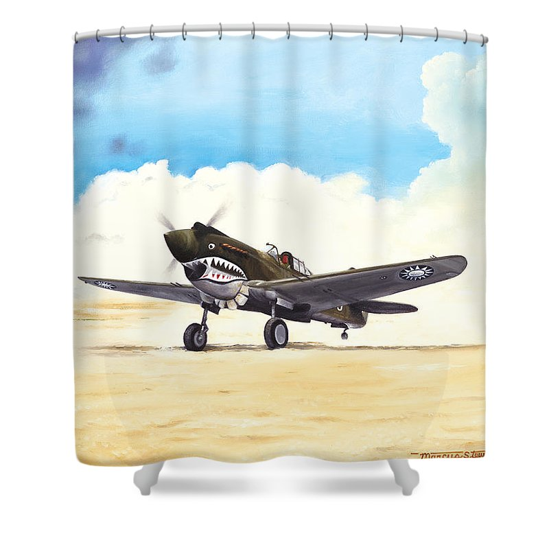 Aviation Shower Curtain featuring the painting Tiger Scramble by Marc Stewart