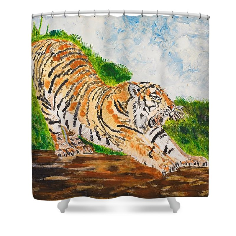 Cat Shower Curtain featuring the painting Tiger Stretching by Valerie Ornstein