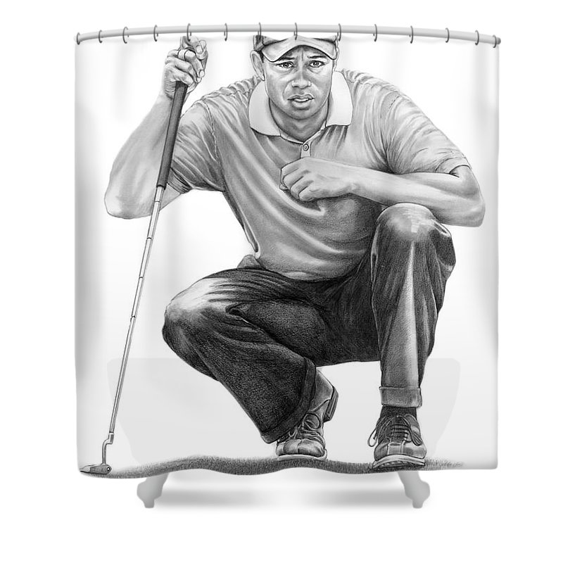 Pencil Shower Curtain featuring the drawing Tiger Woods Crouching Tiger by Murphy Elliott