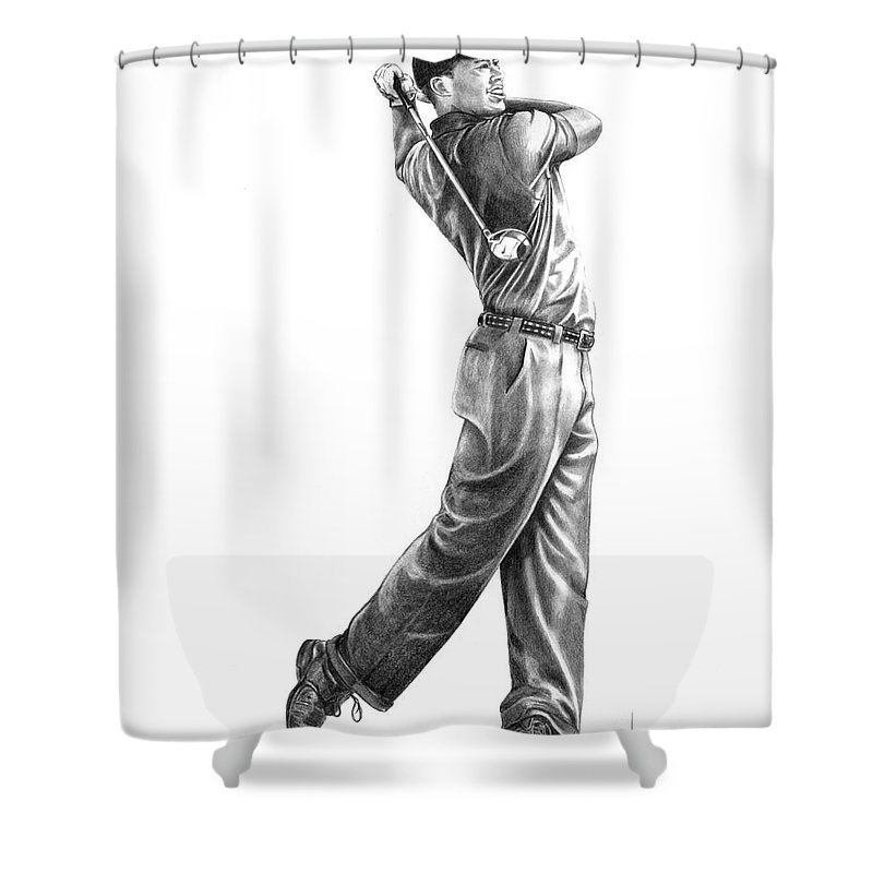 Tiger Woods Shower Curtain featuring the drawing Tiger Woods Full Swing by Murphy Elliott