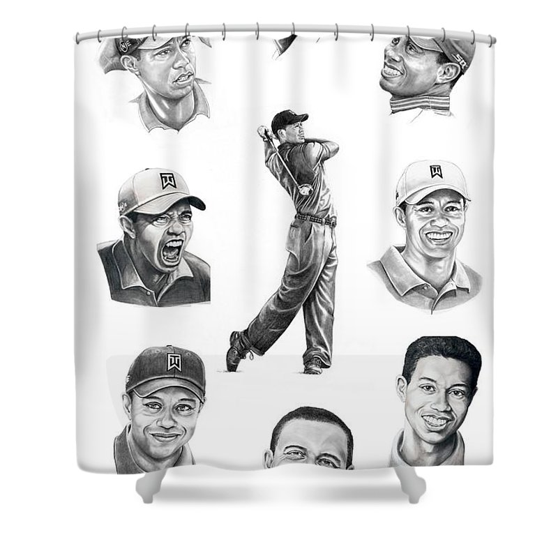 Tiger Woods Shower Curtain featuring the drawing Tiger Woods-murphy Elliott by Murphy Elliott