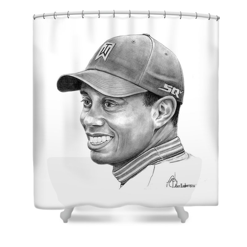 Tiger Woods Shower Curtain featuring the drawing Tiger Woods Smile by Murphy Elliott