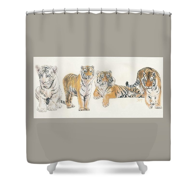 Tiger Shower Curtain featuring the mixed media Tiger Wrap by Barbara Keith