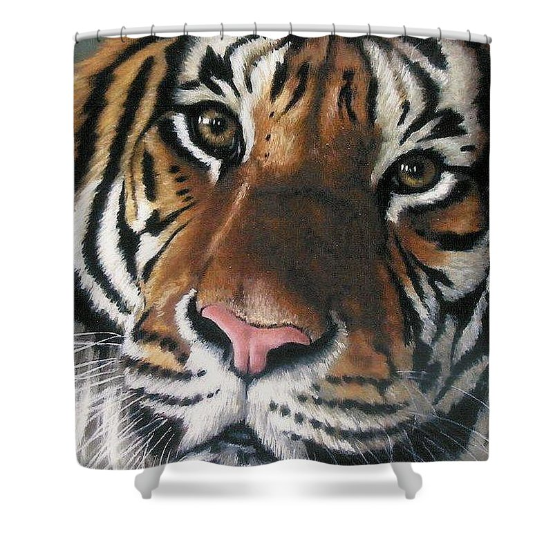 Tiger Shower Curtain featuring the pastel Tigger by Barbara Keith