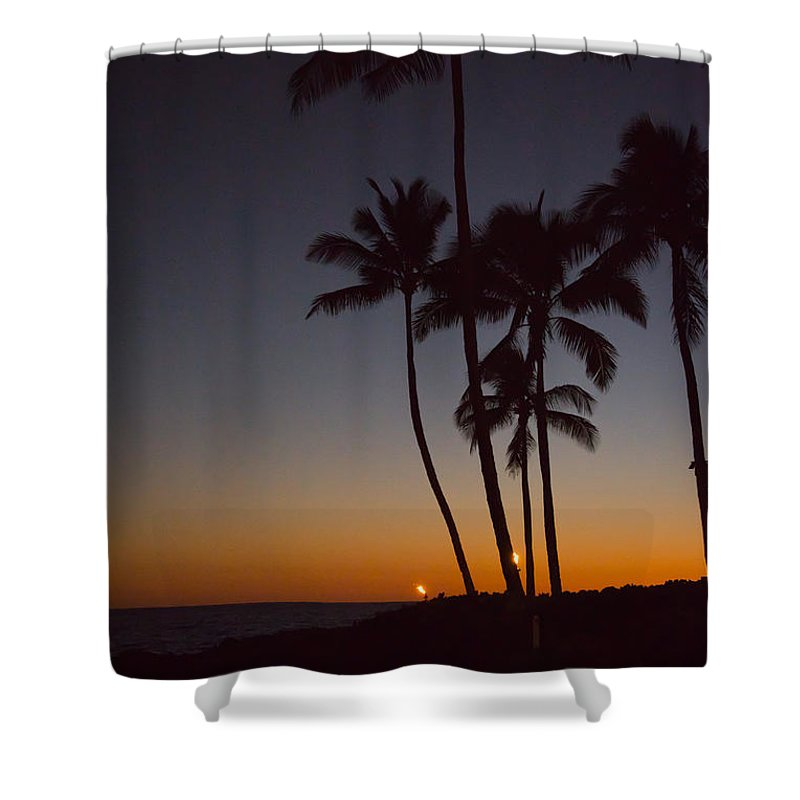 Sunset Shower Curtain featuring the photograph Tiki Lights by Sharin Gabl