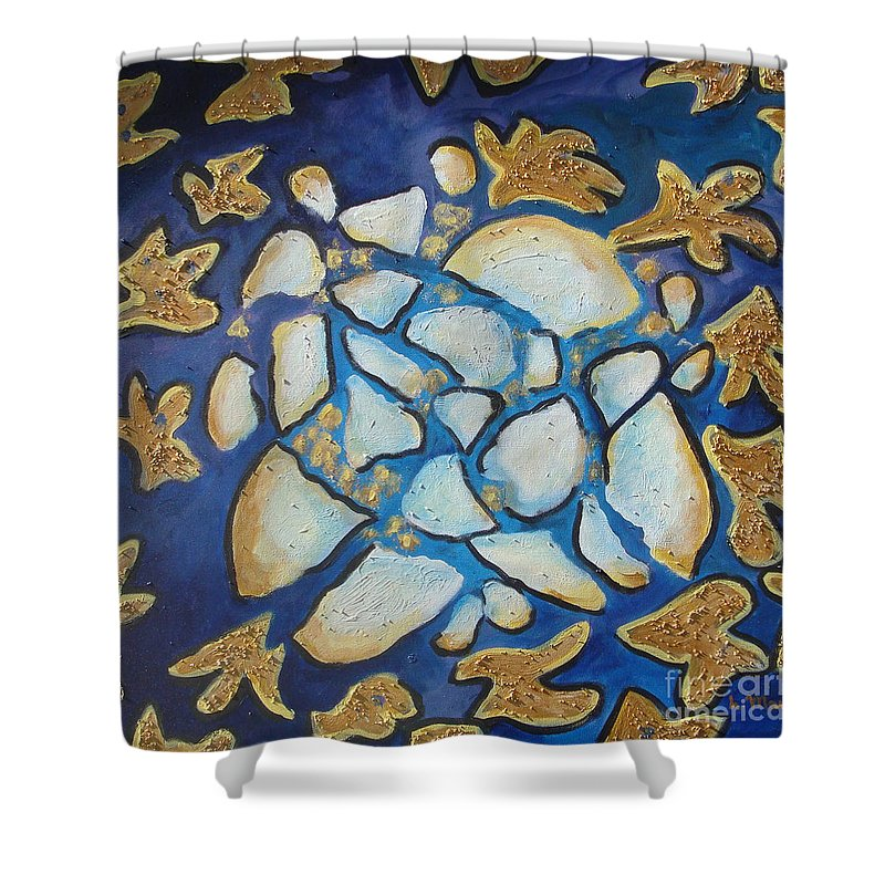 Abstract Shower Curtain featuring the painting Tikkun Olam Heal The World by Laurie Morgan