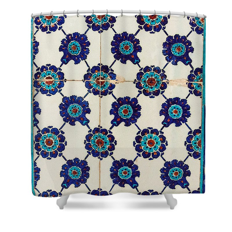 Istanbul Shower Curtain featuring the photograph Tiles At Rustem Pasha Mosque by Bob Phillips