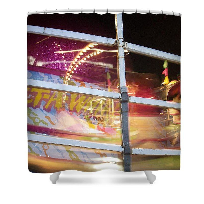 State Fair Shower Curtain featuring the photograph Tilt-a-whirl 1 by Anita Burgermeister