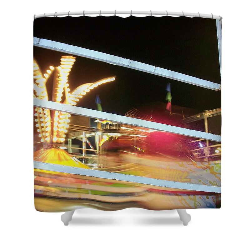 State Fair Shower Curtain featuring the photograph Tilt-a-whirl 2 by Anita Burgermeister