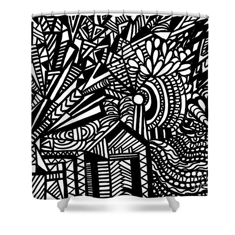 Windmill Shower Curtain featuring the painting Tilting At Windmills by Wbk