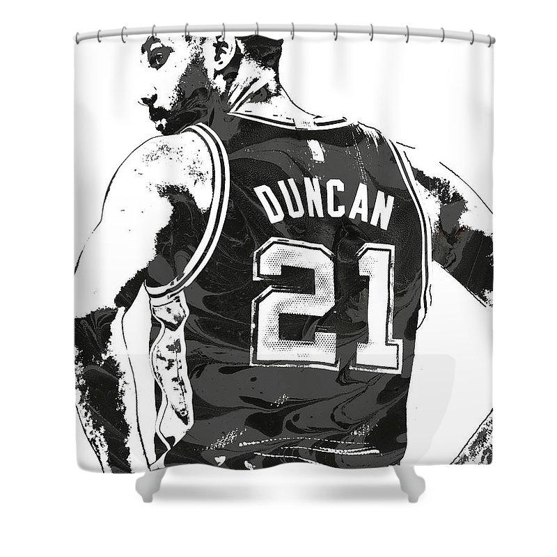 Tim Duncan Shower Curtain featuring the mixed media Tim Duncan San Antonio Spurs Pixel Art 2 by Joe Hamilton
