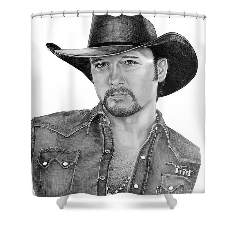 Portrait Shower Curtain featuring the drawing Tim Mcgraw by Murphy Elliott