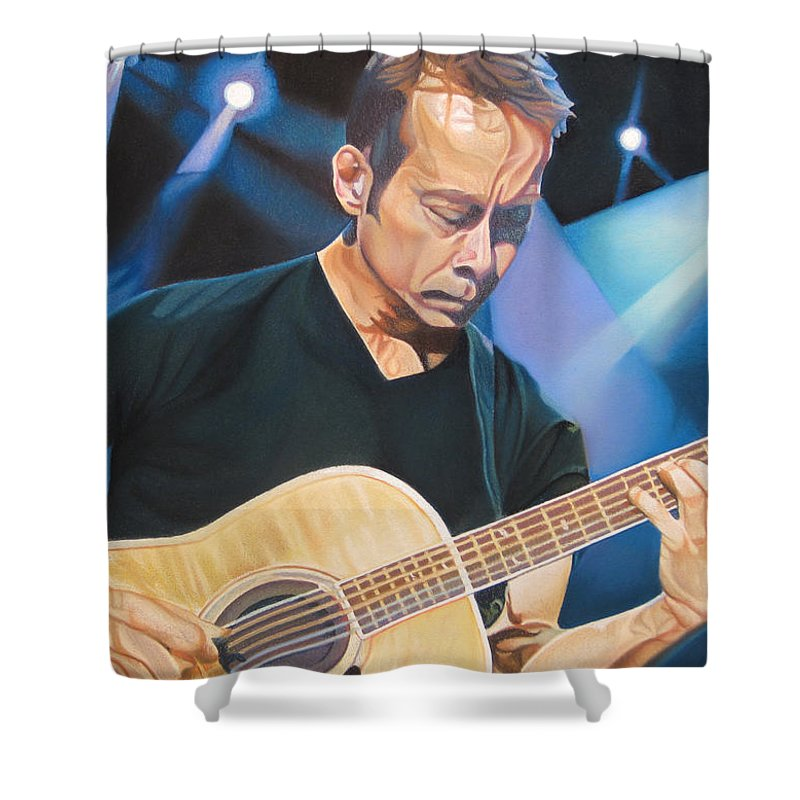 Tim Reynolds Shower Curtain featuring the drawing Tim Reynolds And Lights by Joshua Morton