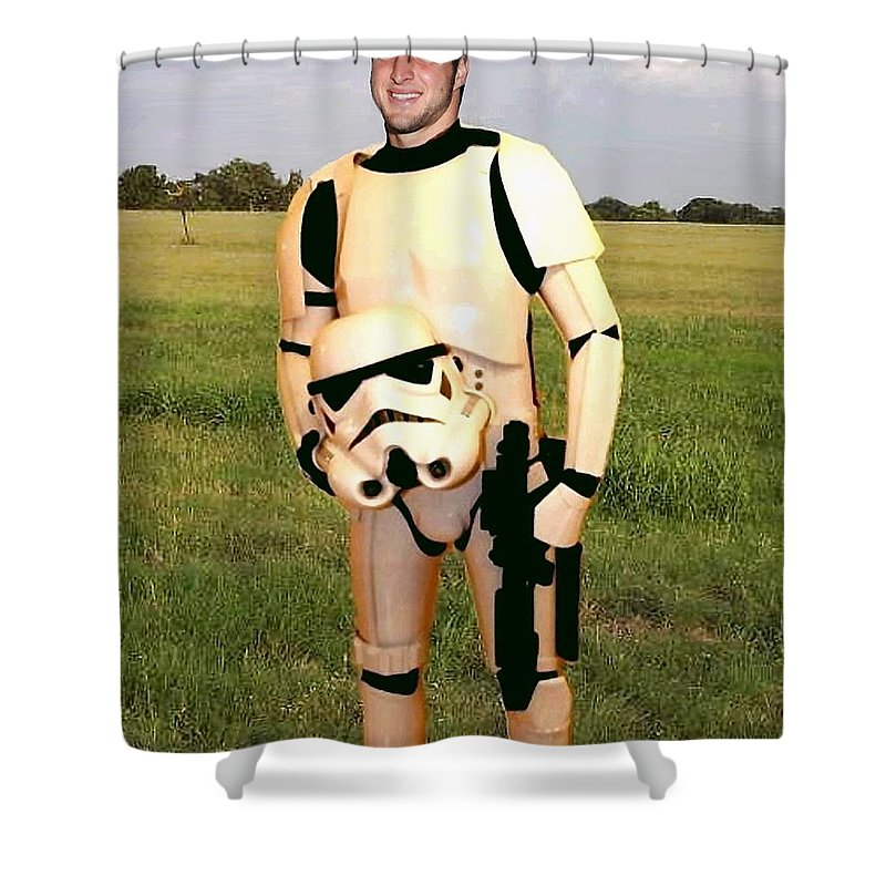 Tim Tebow Shower Curtain Featuring The Painting Stormtrooper By Paul Van Scott