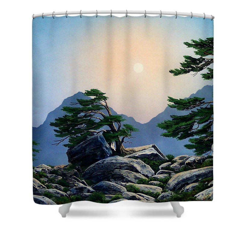 Timberline Guardians Shower Curtain featuring the painting Timberline Guardians by Frank Wilson