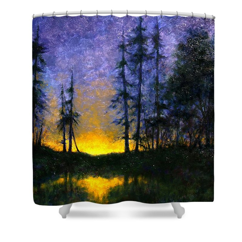 Landscape. Nocturn Shower Curtain featuring the painting Timberline by Jim Gola