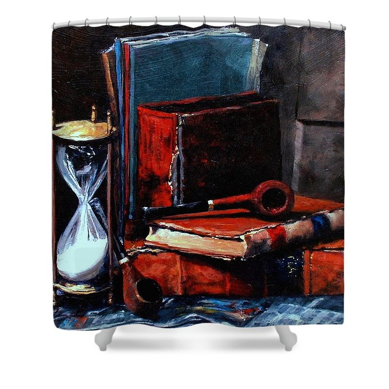 Still Life Painting Shower Curtain featuring the painting Time And Old Friends by Jim Gola