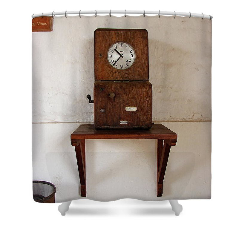 Colchagua Shower Curtain featuring the photograph Time Clock by Brett Winn