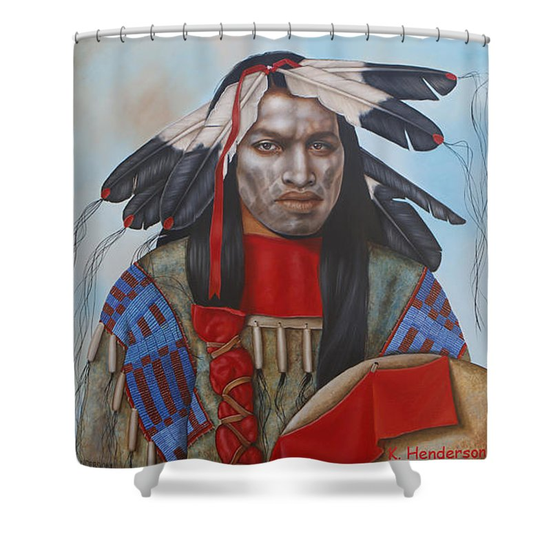 American Indian Shower Curtain featuring the painting Time Is At Hand by K Henderson