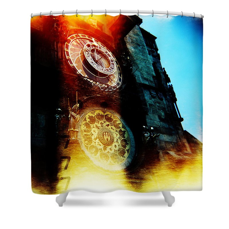 Clock Time Holga Color Photograph Praha Shower Curtain featuring the photograph Time Is Burning by Olivier De Rycke