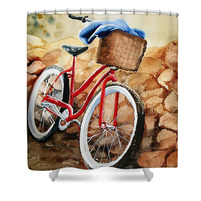 Bicycle Shower Curtain featuring the painting Time Out by Karen Stark